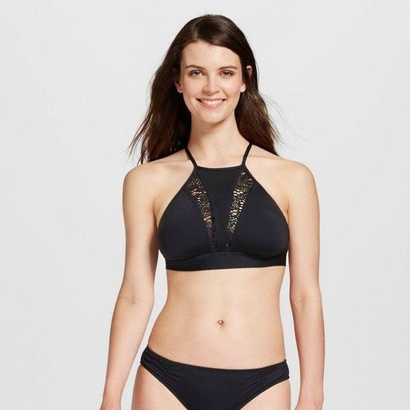 bc20533a7504a New Mossimo Swim Black High Neck Bikini Top